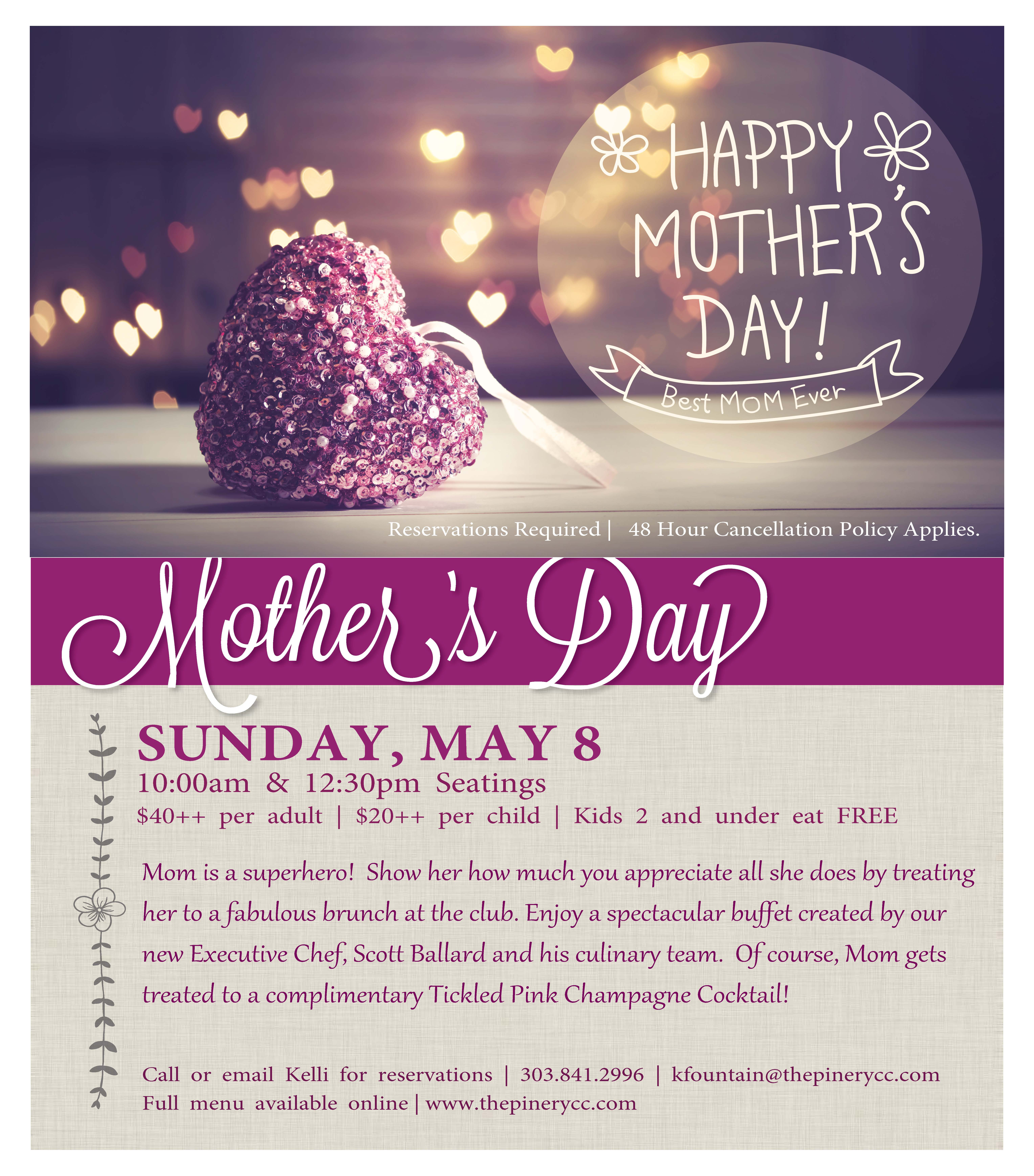 Mothers Day Flyer: The Pinery Country Club